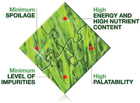 Minimum spoilage - Minimum levels of impurities - high palatability - high energy and high nutrient content